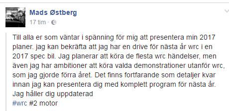 Mads Østberg gjort klart med WRC-styrning för 2017