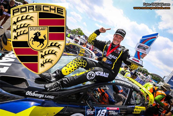Patrik Sandell kör Porsche i Midnattssolsrallyt