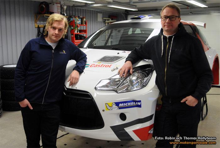 Thomas Thunström och Robin Friberg i varsin Citroên DS 3 R5