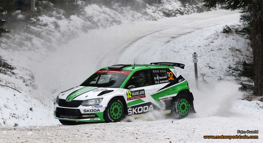 Pontus Tidemand leder WRC2 i Rally Sweden 2017