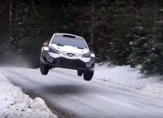 Esapekka Lappi pressar Toyotan inför Svenska Rallyt