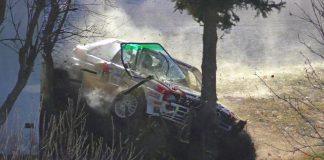 Här kraschar Klausner sin Audi Quattro inför Jänner Rallye 2020
